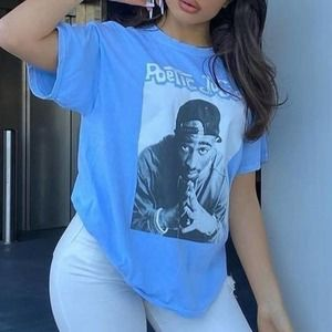 Unisex Poetic Justice 2Pac Baby Blue Tee 3XL